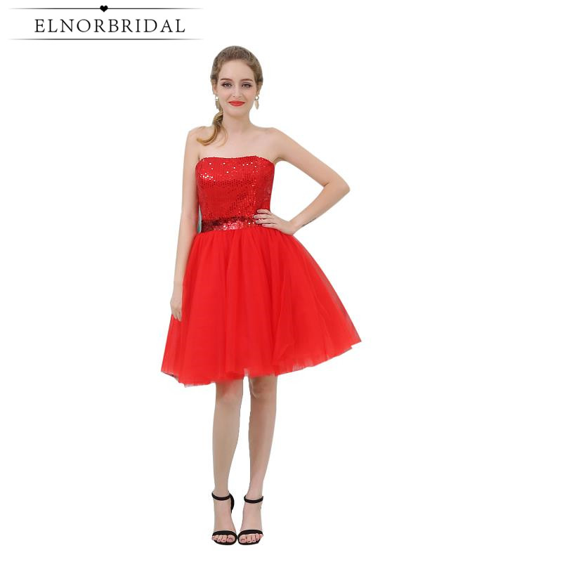Simple Sequins Red   Cocktail     Dress   2019 Vestido   Cocktail   Girls Homecoming   Dresses   A Line Strapless Short Prom Gowns