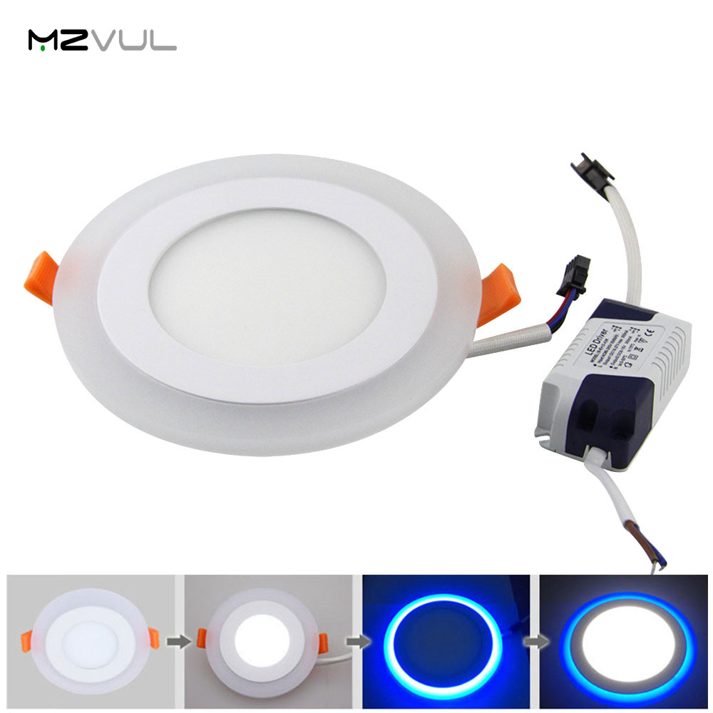 Double Color LED Panel Light 6W 9W 16W 3 Model Round White+Bule LED Ceiling Lamp Panel Light Downlight Home Indoor Lighting