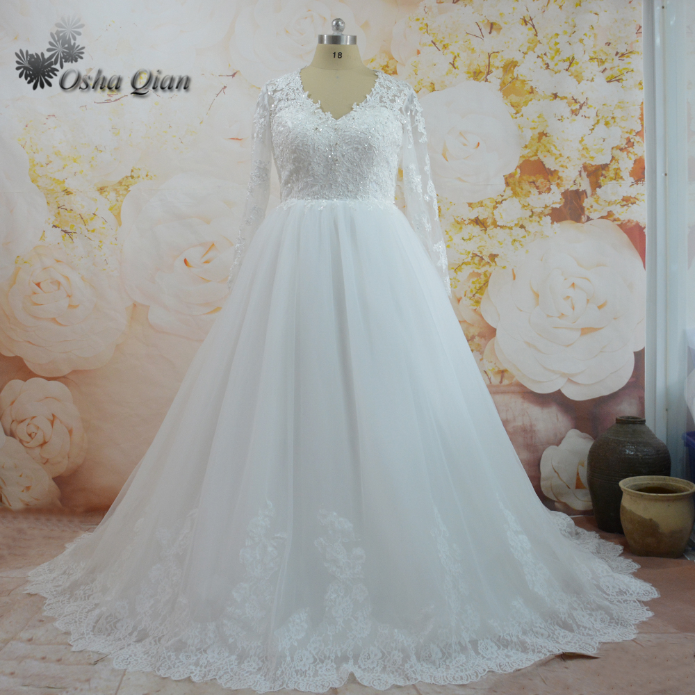 Dubai Wedding Dresses Custom Plus Size Wedding Gowns Lace Long ...