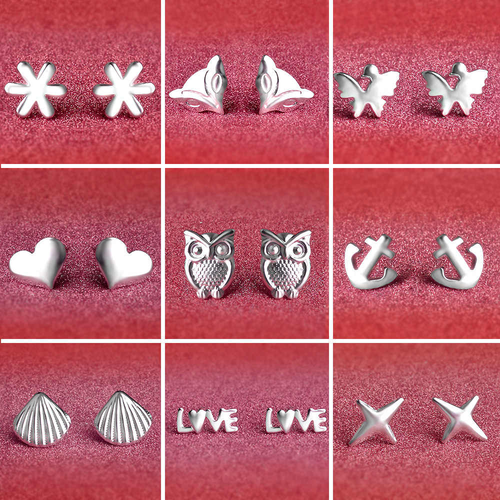 Mini Cute Owl Butterfly Heart Stud Earring for Women Silver Plated ear Jewelry Gift Drop Shipping Wholesale 10 Choices
