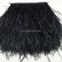10 метров 8-10 см ширина черные страусиные перья лента перо бахрома отделка из перьев