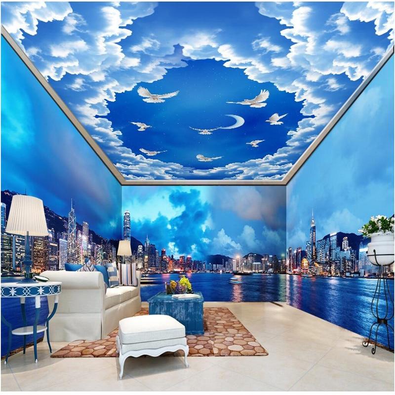 Customized Room Wallpaper Hong Kong City Night Background