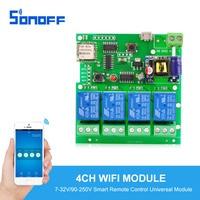 Sonoff Smart Remote Control Universal Module 4ch DC 5V 12V 32V 220V Jog Inching Self Locking