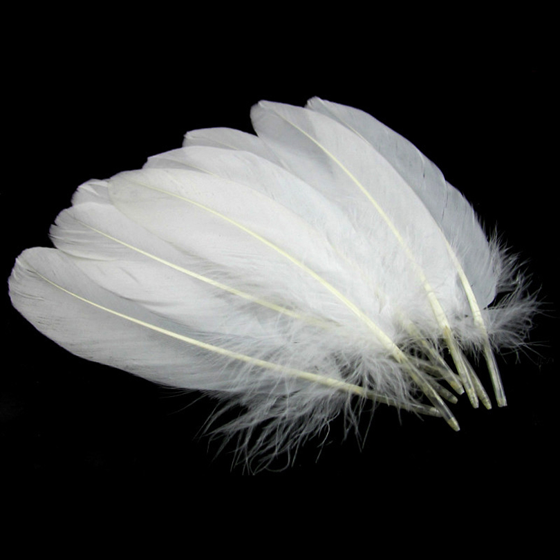Mnft 50pcs pure white color color goose feather plume for Fly fishing feathers