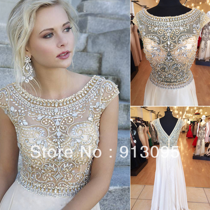 Real sample! Women's Evening Gowns Short Sleeves See Crystal Beaded Chiffon Line Long Prom Dresses 2014 Fast Shipping - Suzhou dreamybridal Co.,LTD store