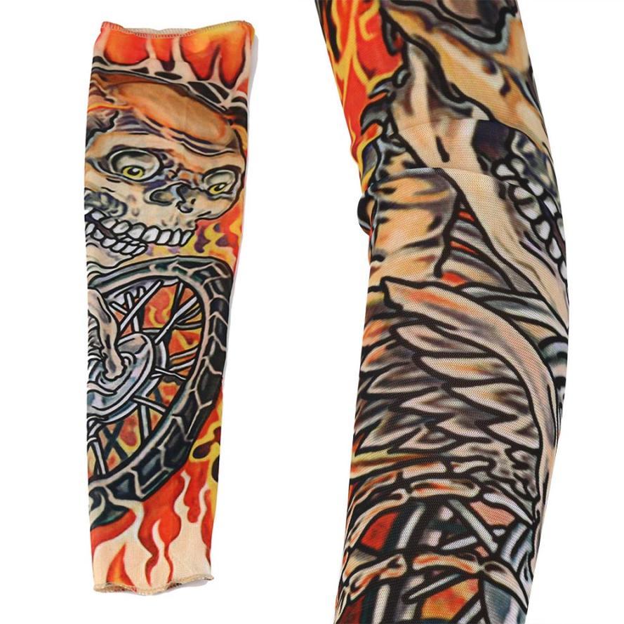 Luvcls 1pc Drop Shipping Elastic Sleeve Temporary Tattoo Fake Designs Body Socks Arm Tatoo For Women Men Cuff Tattoo Arm Warmers Wide Varieties Apparel Accessories Men's Arm Warmers