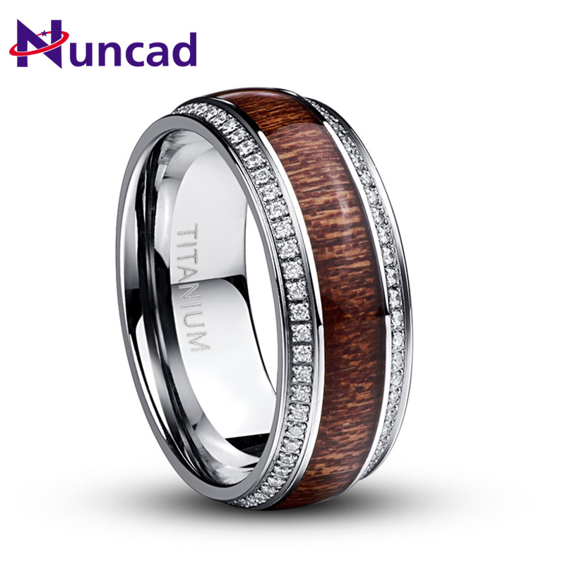 NUNCAD Men's Acacia Wood Titanium Steel CZ Ring Romantic Wedding Jewelry 316L Stainless steel Rings Classic Boyfriend Gift