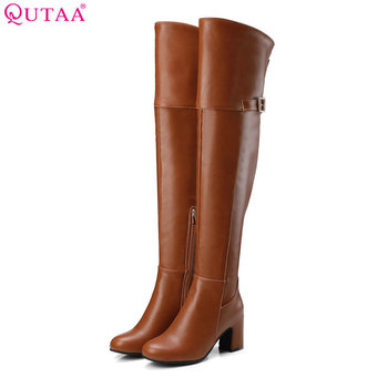 de519c6d8415 Hot Deals QUTAA 2017 NEW Fashion Women Over The Knee High Boots Pu Leather  Fashion Square High Heel Round Toe Women Boots Size 34-43