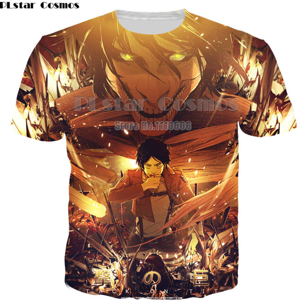 PLstar Cosmos Attack On Titan 3D T Shirt Men Women New Fashion Brand Men women Clothing Casual Hip Hop Streetwear T-Shirt S-5XL