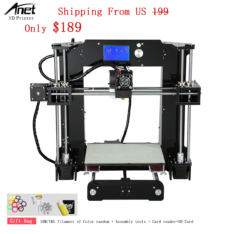 Easy to Assemble Lighter and Save Freight Cost Anet A6 3d Printer With Acrylic Frame + Lead Screw 1.75MM Filament 0.4MM Nozzle