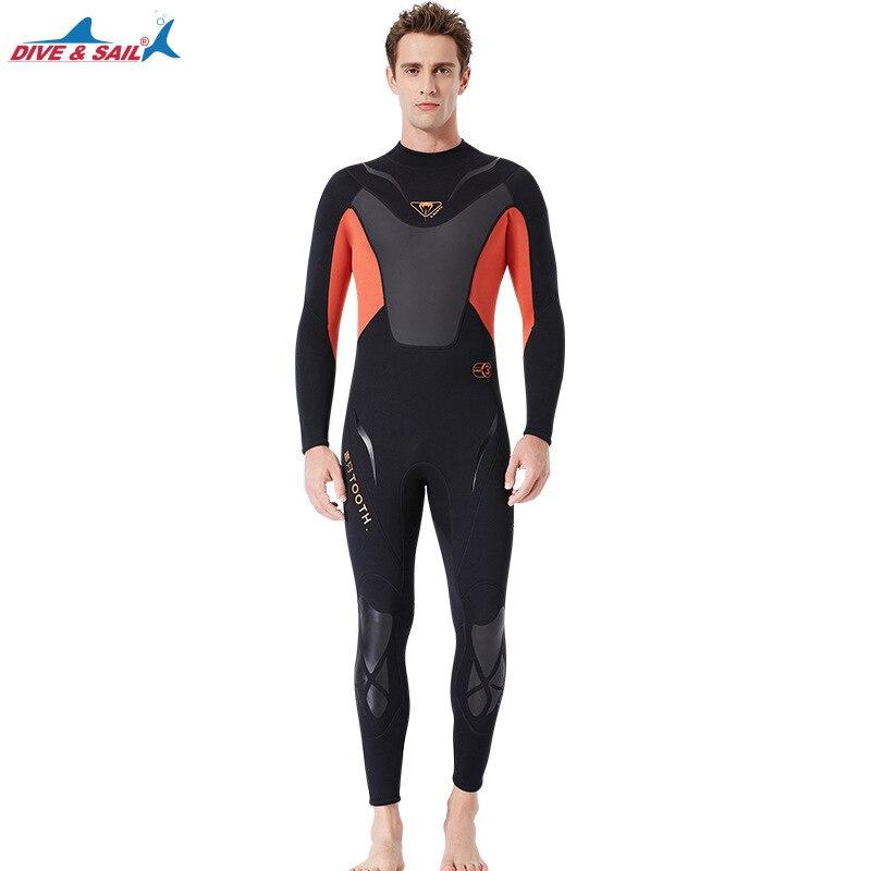 Высокое качество Цельный 3 мм черный Дайвинг костюм для триатлона неопреновый гидрокостюм для мужчин Плавание Серфинг подводное оборудование сплит костюмы - 6