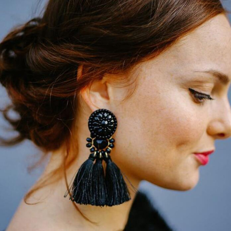 AE-CanFly Kvinnor Märke Boho Drop Dangle Fringe Earring Vintage Etnisk Statement Tassel Earrings