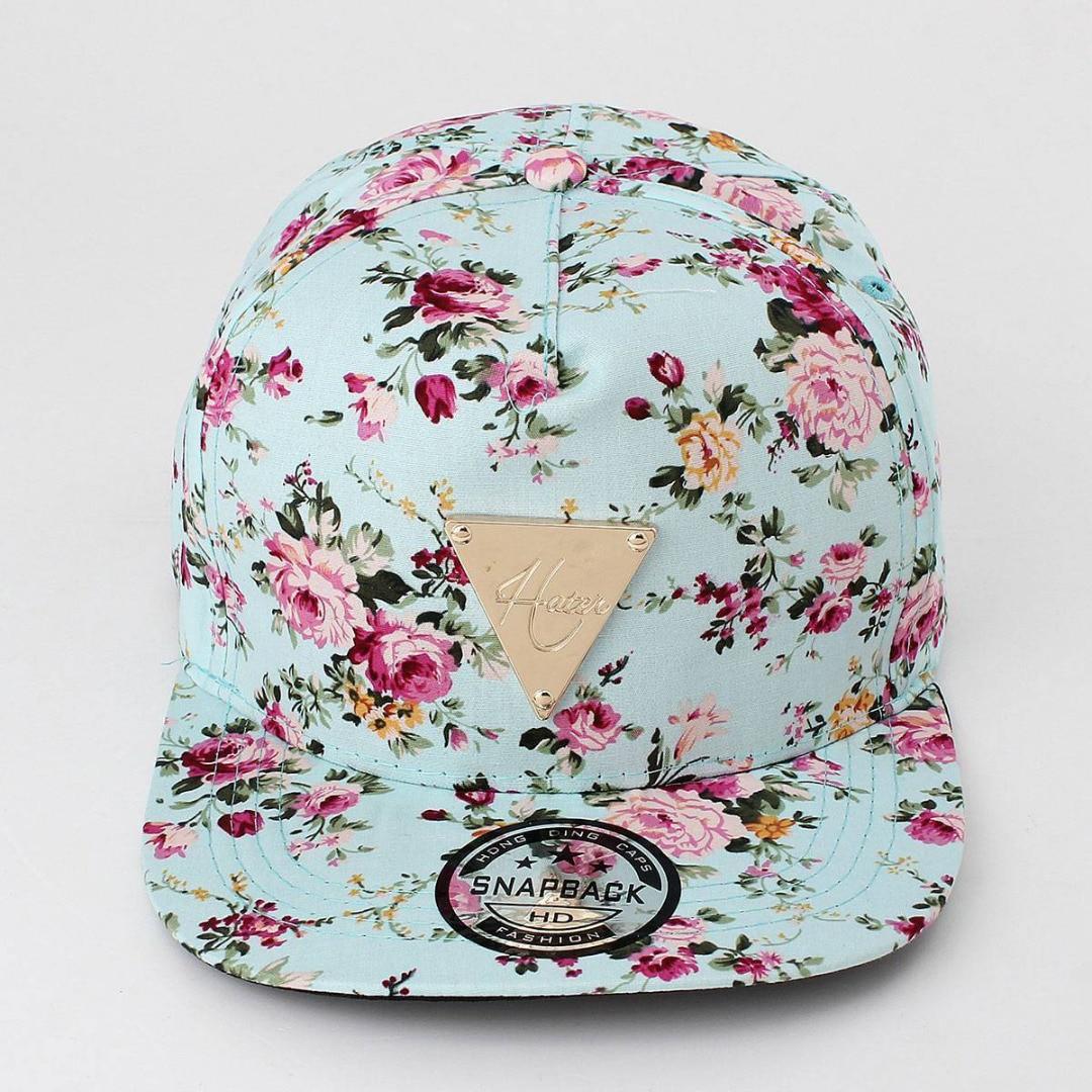 NaroFace Women Floral Flower Print Snapback Hip-Hop Hat Flat Adjustable Cotton Baseball Caps Sun Hats 4Colors