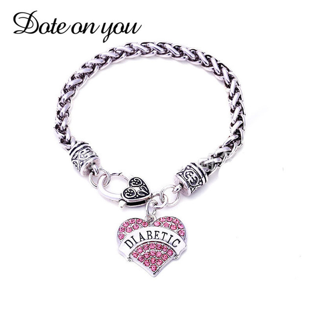 2017 Fashion Diabetic Bracelets Diy Crystal Heart Charm Bracelet Awareness Medical Alert Gift For Women