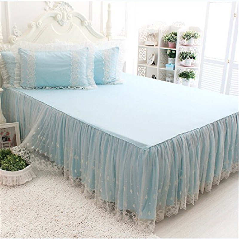 FADFAY Romantic Girls White Lace Bed Skirt Fancy Blue Bed Skirts Korean  Girl Princess Style Sheets Set Pillow Case Bedding Set In Bedding Sets From  Home ...