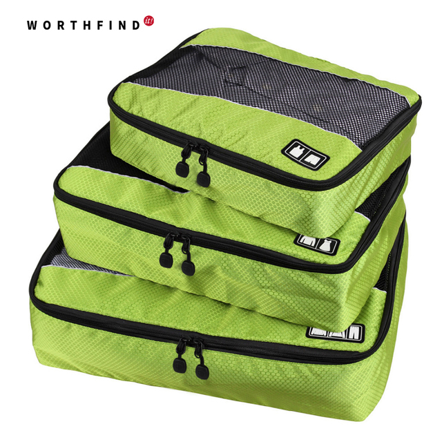 WORTHFIND 3 Pcs/Set Unisex Nylon Packing Cubes For Clothes Travel Bags For Shirts Waterproof Duffle Bag Organizers
