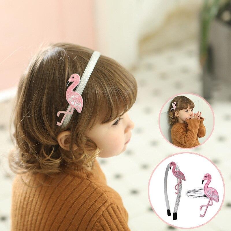 1PCS New Flamingo Embroidery Kids Hair Hoop Baby Hairbands Princess   Headwear   Girls Hairpins Hair Accessories Children Headbands