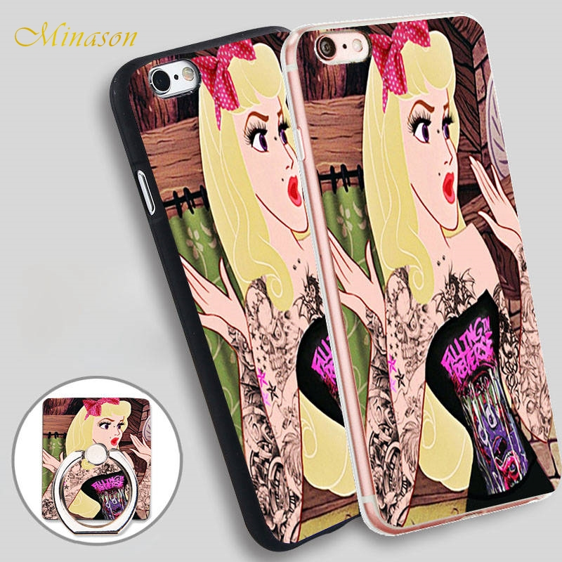 Minason Punk Princess Sleeping Beauty Soft TPU Silicone Phone Case Cover for iPhone X 8 5 SE 5S 6 6S 7 Plus