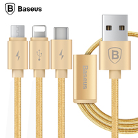 Baseus 3in1 8pin Micro Type C USB Cable 1 2m Wire Cord For IPhone Android Type