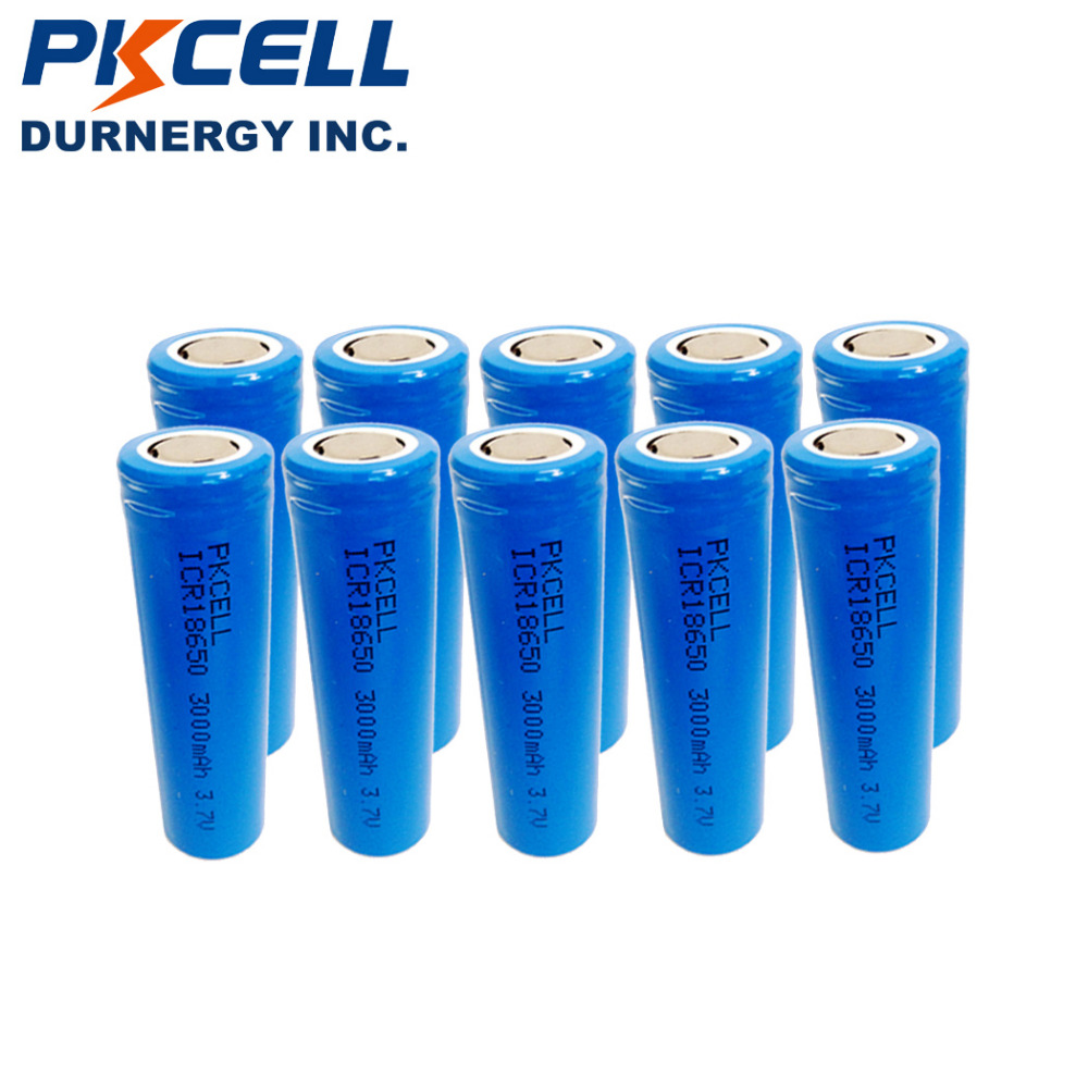 10Pcs pkcell 18650 battery 3000mAh Li-ion ICR18650 3.7V Rechargeable Battery High Real Capacity in flat top,no PCM aficionado aficionado afn ww202rw