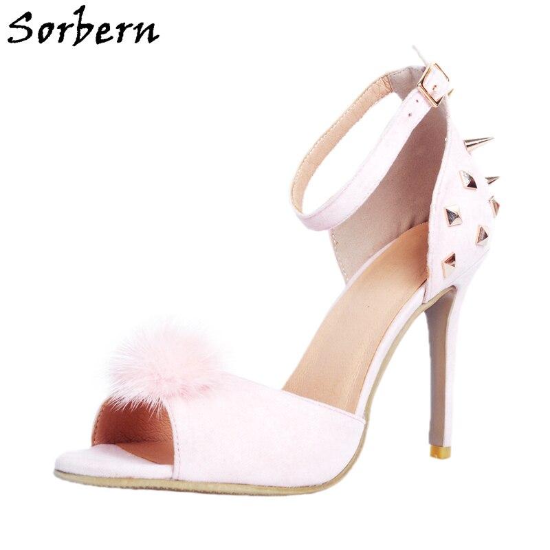 c1bef2b1d9 Sorbern Pink Ankle Straps Chaussure Femme Plus Size 12 Luxury Shoes Women  Designers Sexy Shoes Sapatos Femininos De Salto