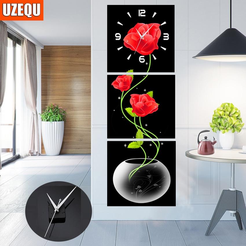 UzeQu Triptych gyémánt hímzés teljes körű 5D DIY gyémánt festés falióra keresztkötés strasszos festés virágóra