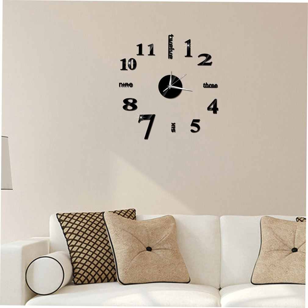 Chinese English Number DIY Home Living Room Bedroom Wall Stickers 3D Home Living Room Decoration Fashion Quartz Clock