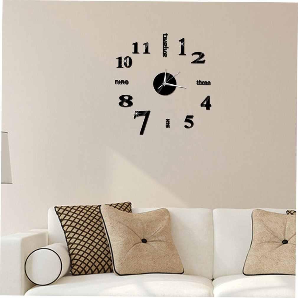 Chiński angielski numer DIY domu salon sypialnia naklejki ścienne 3D domu salon dekoracji moda zegar kwarcowy