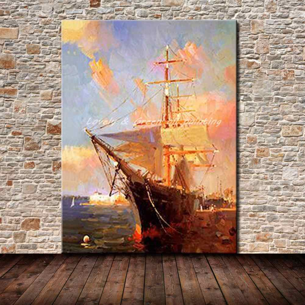 Sailboat Pictures Hand Painted Modern Abstract Oil Painting On Canvas Wall Art For Living Room Decoration Gift No Framed