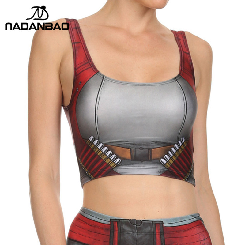 NADANBAO NEW ARRIVAL Crop   Top   COMIC Pattern Women Camis BLADE AND Ammo Print   tank     tops   Colorful sleeveless Tee Vest