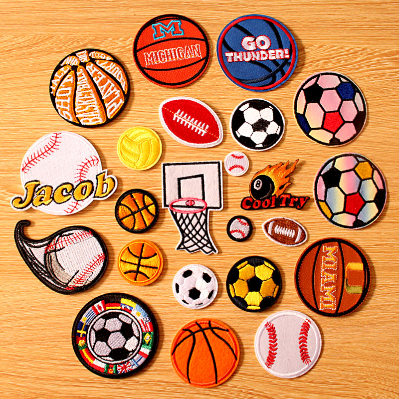 DIY Clothes Accessories Ball Patch Embroidered Patches For Clothing Iron on On Stripe Sew Basketball