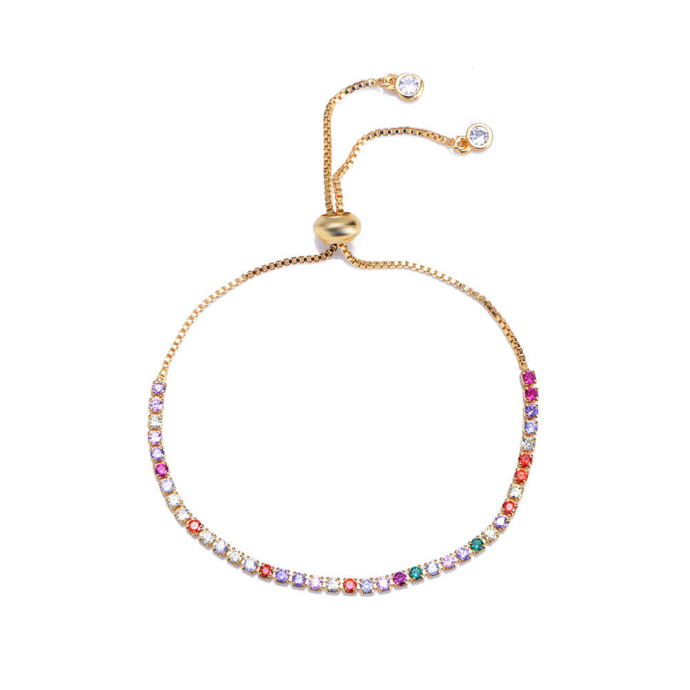 women's zircon cz Devil's Eye bracelets bangles rainbow colorful Turkey's eye charm gold chain bracelets jewelry for women gift