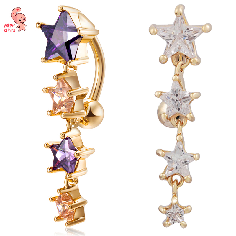 2018 New Hot White Luxury Zircon Crystal Star Belly Button Rings Women Body Jewelry Gold Zircon CZ Navel Piercing Belly Piercing