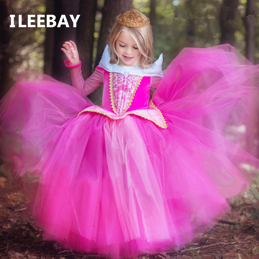 New Spring Baby Girls Sleeping Beauty Princess Dresses Aurora Kids Girls Fantasy Party Cosplay Dresses Children Gown Costume girls sleeping beauty princess cosplay party dresses children long sleeve aurora costume clothing kids tutu dress for christmas