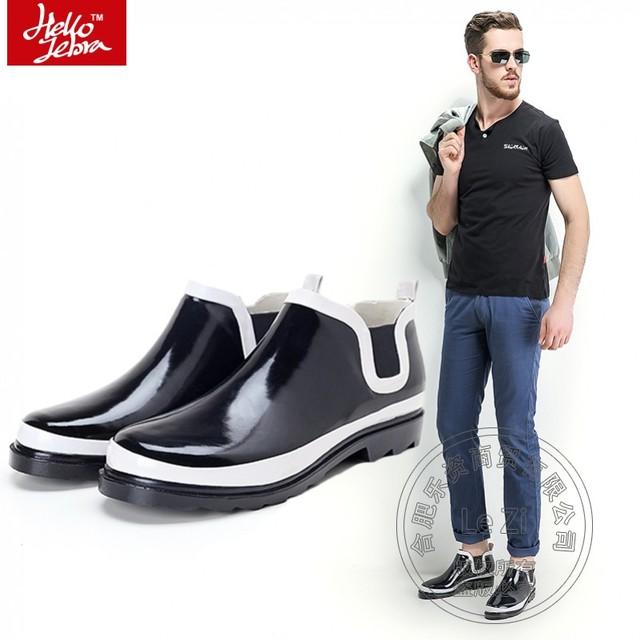Individualidad de Tacón Bajo Zapatos de Los Hombres Con Estilo Coreano de alta Calidad Brillante Capa De Pintura Botas de Lluvia del tobillo Nuevo Resbalón En Mixto Color