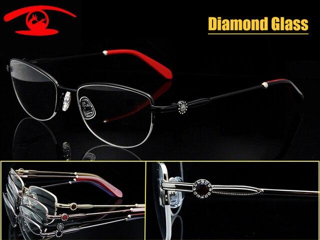 Оптовая продажа ( 5 шт./лот ) дизайнер оправы женские очки рама роскошный алмаз оптические прозрачные линзы