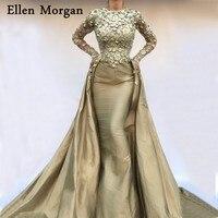 Saudi Arabia Mermaid Evening Dresses 2018 Robe De Soiree Kaftan Dubai Moroccan Long Sleeves Lace Taffeta Vintage Formal Gowns