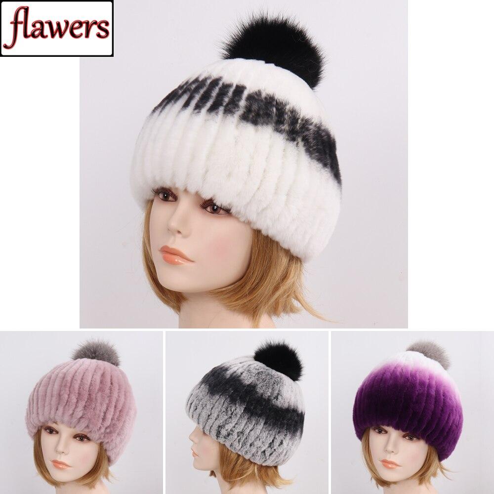 New Lady Real Rex Rabbit Fur Hat Women Winter Warm Knit 100% Natural Rex Rabbit Fur Caps With Fox Fur Ball   Skullies     Beanies   Hats