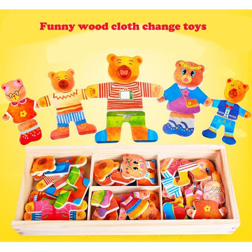 Blocs de jouets en bois Jigsaw Animal Bear Vêtements robes robes de - Jeux et casse-tête - Photo 2
