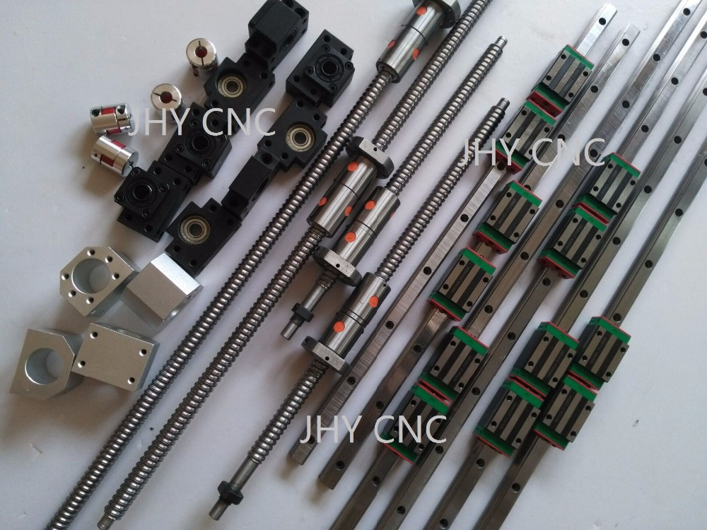 linear rail profile guideway +4 ballscrews ball screws DFU1605+4sets BK/BF12+4 ballut Housings + 4 couplers linear shaft rail high precision guideway linear rail unit