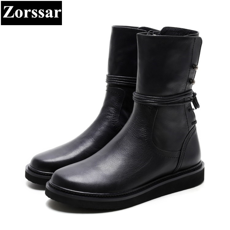 {Zorssar} 2018 NEW Fashion Women Knight Boots Flat heel Mid-Calf boots Leisure flats womens Motorcycle boots winter female shoes zorssar 2018 new fashion women boots genuine leather comfort thick heel zipper mid calf boots autumn winter women shoes