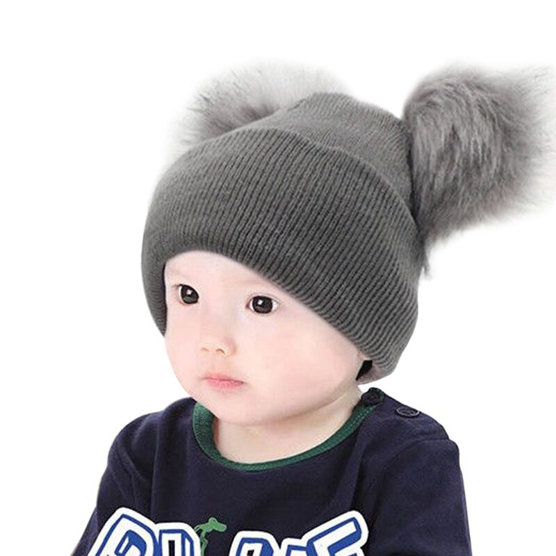 Novelty Winter Pompom Hat Bonnet Enfant Baby Faux Fur Baby Double Fur Pom Pom Beanies Warm Boys Girls Knitted Skullies Caps Hats & Caps Accessories