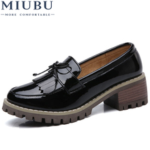 MIUBU Women Flats Shoes Tassel Knot Patent Leather Loafers Med Heel Shoes Boat Women Moccasin Mules Shoes for women Autumn