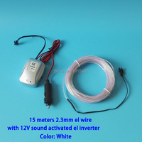 Sound Sensitive 15Meters 2 3mm White EL Wire Neon Led Strip Outdoor Concert Decor Powered By