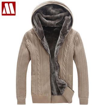 Зимние теплые толстые Для мужчин свитера/Повседневное искусственная Меховая подкладка вязаный свитер пальто Для мужчин дизайнерский кард...