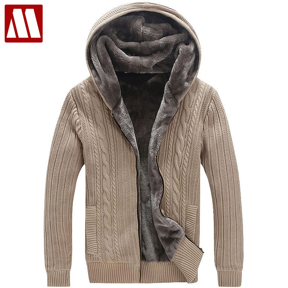 US $84.97 15% OFF|Winter Warm Thick Mens Sweaters Casual Faux Fur Lining Knitted Sweater Coat Men Designer Hooded Cardigans Big Size to 5XL