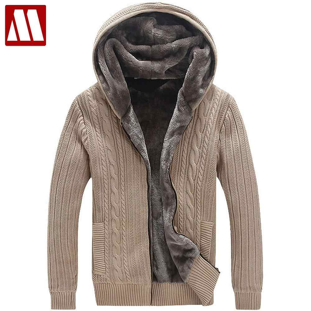 Winter Warm Thick Mens Sweaters Casual Faux Fur Lining
