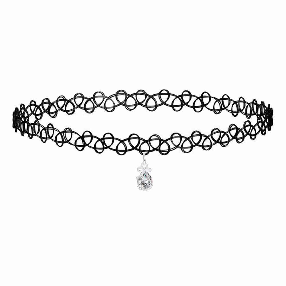 Kinitial Fashion koronkowy choker biały kryształ kropla wody naszyjnik biżuteria naszyjnik choker tanie szyi fałszywe biżuteria