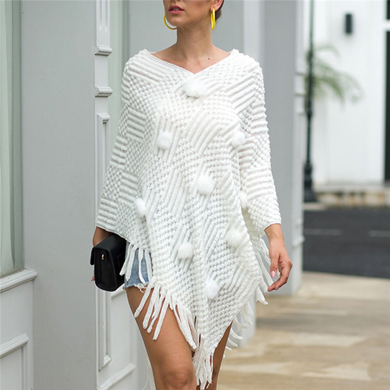 Women O-Neck Solid Hairball Tassel Cloak Loose Shawl Cardigan Sweater Coat