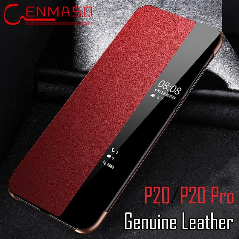 Huawei P20 pro caso P20 flip caso táctil inteligente ventana P20pro cubierta de cuero genuino Huawei P20 pro teléfono coque